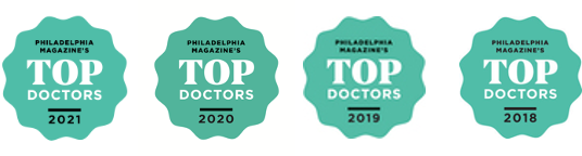 Top Doctors Badges from Philadelphia Magazine from 2018 to 2021